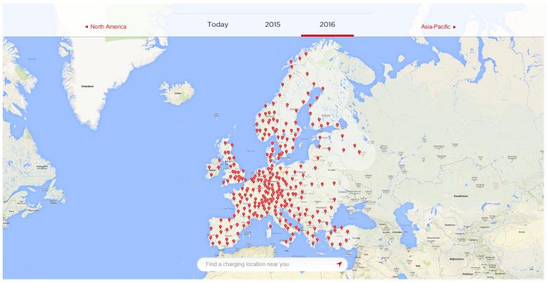 Sieć stacji ładowania Tesla w roku 2016- EUROPA