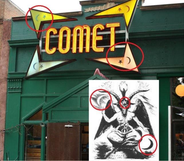 Logo zamieszanej w sprawę pizzerii ma szatańskie symbole. Według spiskowców.