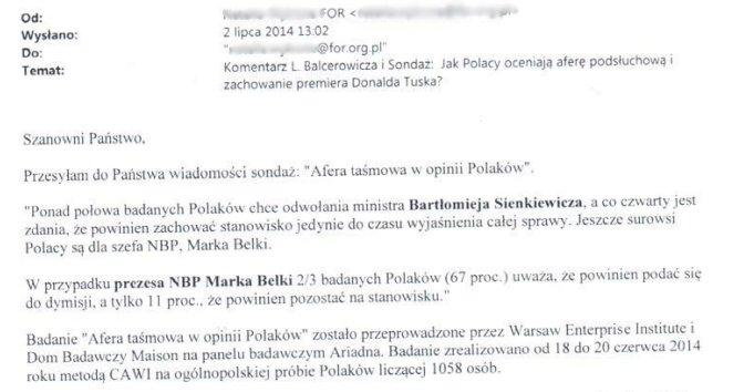 FOR Leszka Balcerowicza promował badania WEI wg których aż 67 proc. Polaków chce odwołania Belki