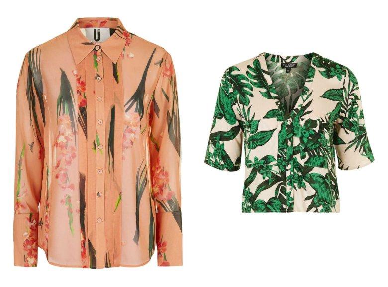 Łososiowa koszula - Top Shop około 700 zł, koszula z krótkim rękawem w palmy - Top Shop około 170 zł