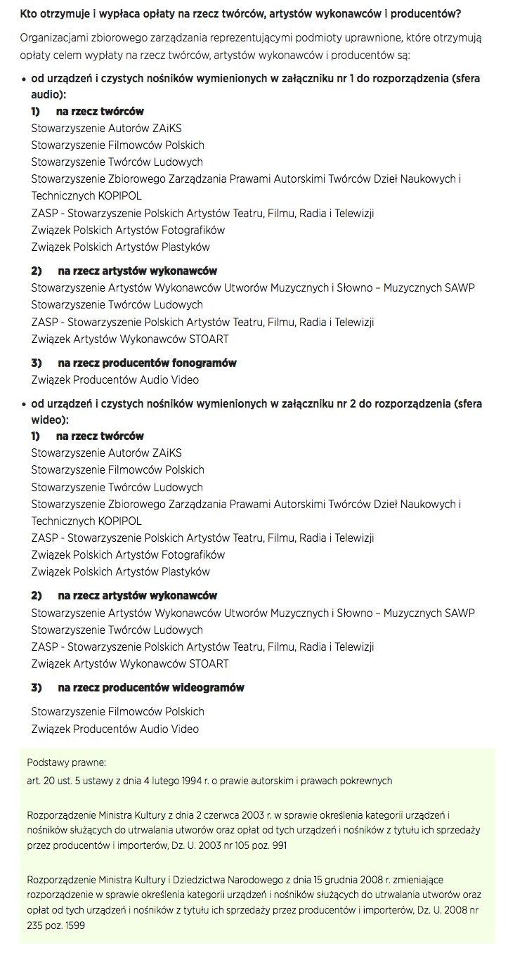 Podział Organizacji Zbiorowego Zarządzania w Polsce wg obowiązującego prawa.