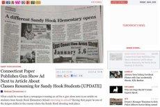 Amerykańskie media krytykują gazetę z Connecticut, która obok artykułu o szkole w Newtown pokazała reklamę targów broni.