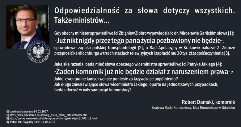 Grafika z konta na Facebooku komornika Roberta Damskiego, członka Krajowej Rady Komorniczej i Izby Komorniczej w Gdańsku.