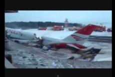 Screen z miejsca rozbicia samolotu Tu-204