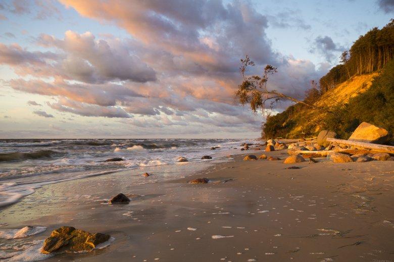 Plaża i klif w Wolińskiego Parku Narodowego w świetle  słońca.