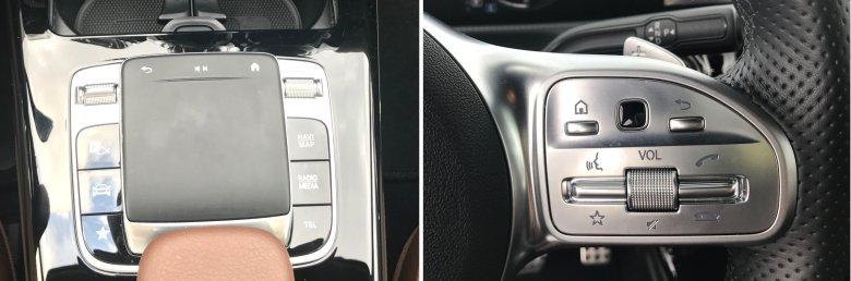 """Czarna """"kropka"""" na kierownicy to mały touchpad."""