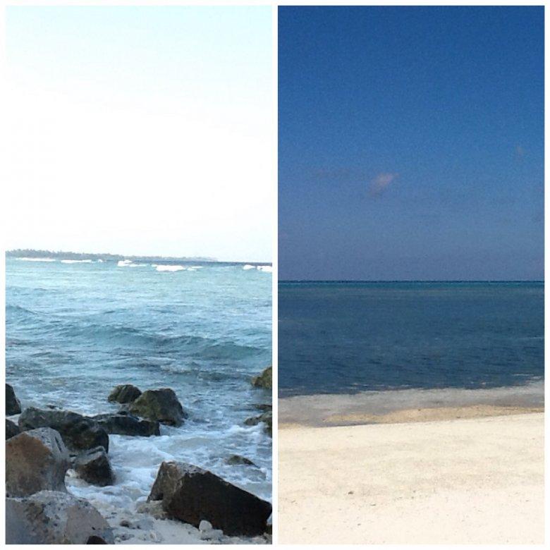 Malediwy, Addu Atol, wyspa Hulhudhoo jest miejscami tak wąska, że stojąc pośrodku na piaszczystej drodze, z jednej strony można widzieć morze, a z drugiej lagunę. Dzieli je jedynie kilkadziesiąt kroków.