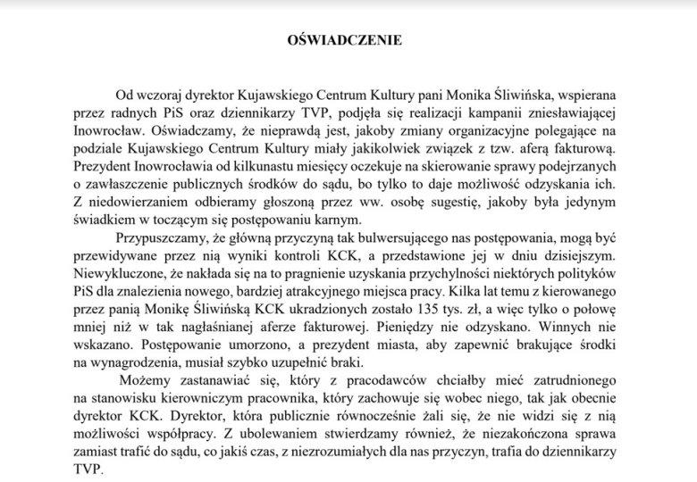Oświadczenie Urzędu Miasta.