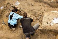 Archeolodzy przy pracy w jednej z jam grobowych na Łączce.