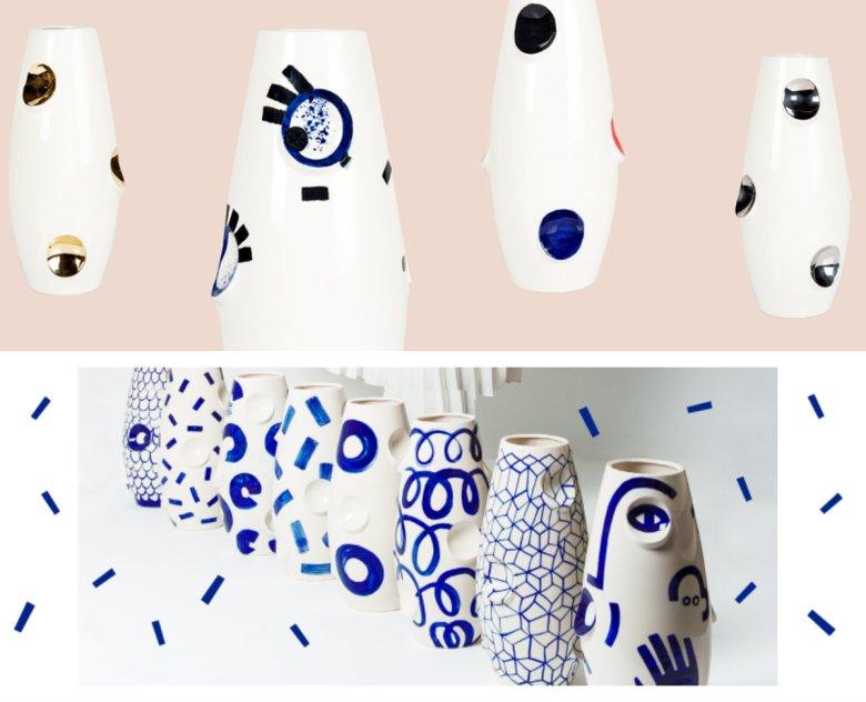 Ceramika Malwiny Konopackiej: na górze kolekcja Eyes, na dole kolekcja Kobalt