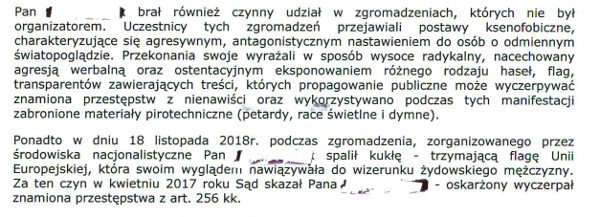 Fragment uzasadnienia decyzji prezydenta Wrocławia o zakazie organizacji Narodowego Marszu Niepodległości 11 listopada.