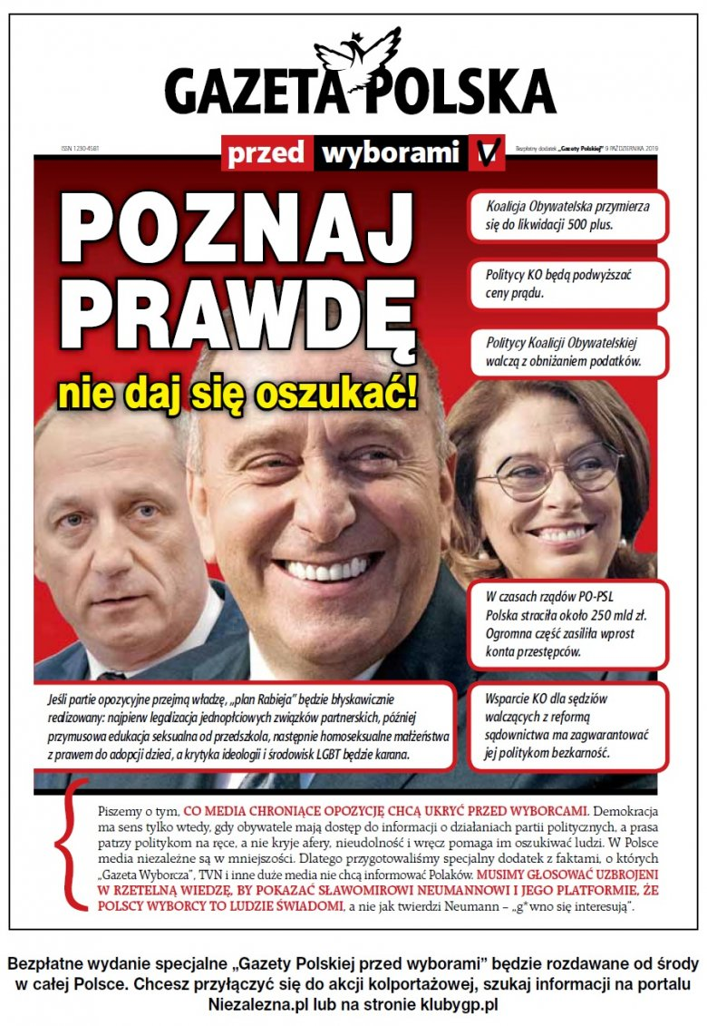 Tak pismo Tomasza Sakiewicz zachęca do głosowania na PiS.