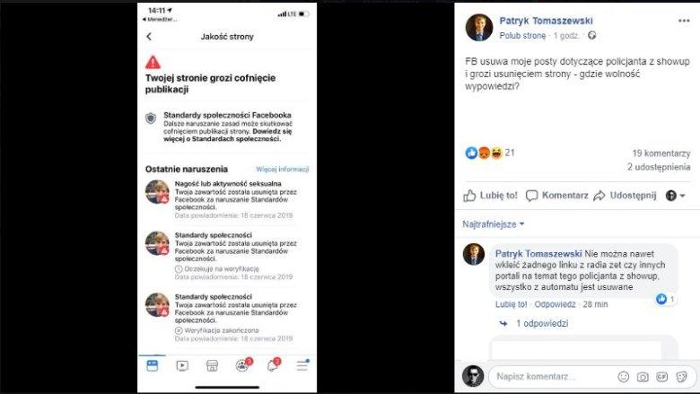 Patryk Tomaszewski poinformował, że Facebook usuwa z jego strony materiału o masturbującym się policjancie.