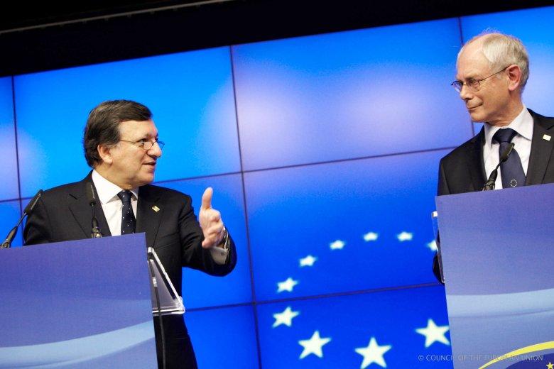Szef Komisji Europejskiej Jose Manuel Barroso i przewodniczący Rady Unii Europejskiej Herman van Rompuy.