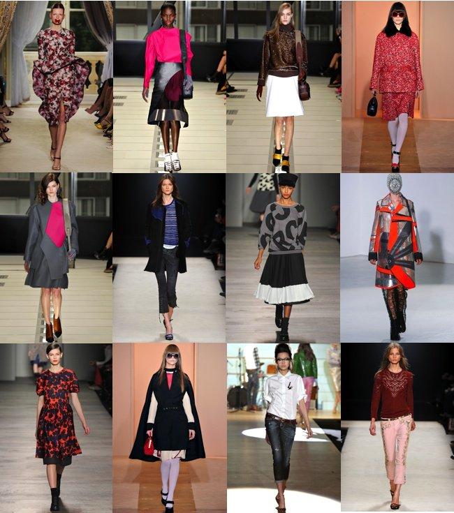 Od lewej wybrane sylwetki z kolekcji: Giambattista Valli (Fall 2012 Couture), Balenciaga (Fall 2012 Ready-to-Wear), Marni (Fall 2012 Ready-to-Wear), Isabel Marant (Fall 2012 Ready-to-Wear), Marc by Marc Jacobs (Fall 2012 Ready-to-Wear), Dsquared2 (Fall 20
