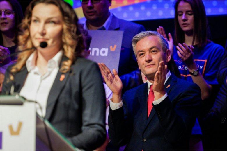 Monika Pawłowska i Robert Biedroń na konwencji Wiosny w Lublinie.