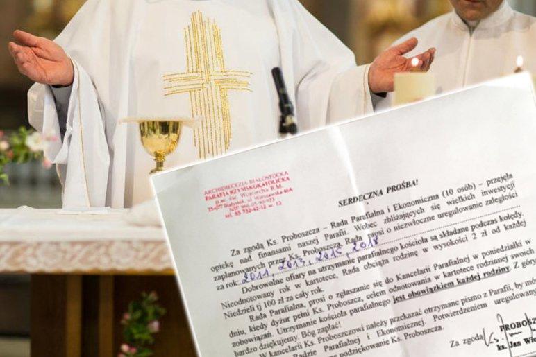 """Pismo z """"dobrowolną"""" ofiarą rozesłała archidiecezja z Białegostoku"""