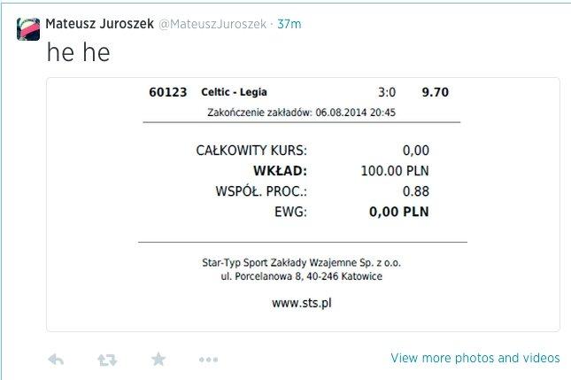 """Mateusz Juroszek prezentuje na twitterze """"zakład"""" z meczu Celtic - Legia na wynik 3:0 (zwróćcie uwagę na szczegóły)"""