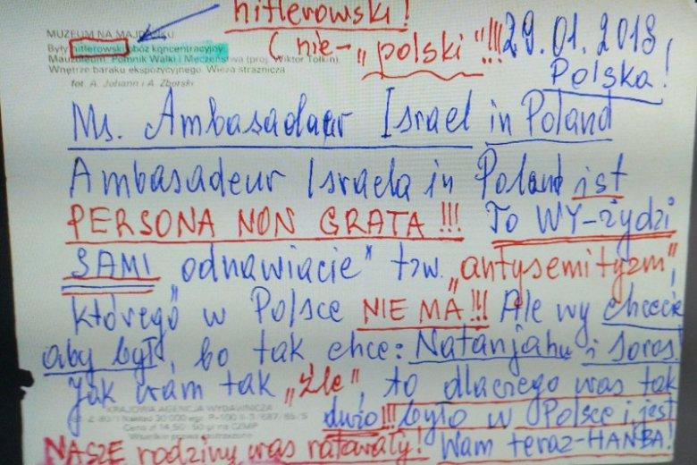 """Takie listy w ostatnich tygodniach dostała Ambasada Izraela w Polsce. Można je zobaczyć na wystawie """"Obcy w Domu"""" w Muzeum Historii Żydów Polskich POLIN."""