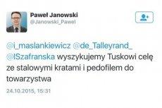 Oto wpis dra Janowskiego, za który może stracić pracę