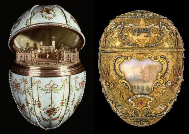 Po prawej - rokokowe jajko upamiętniające Piotra Wielkiego