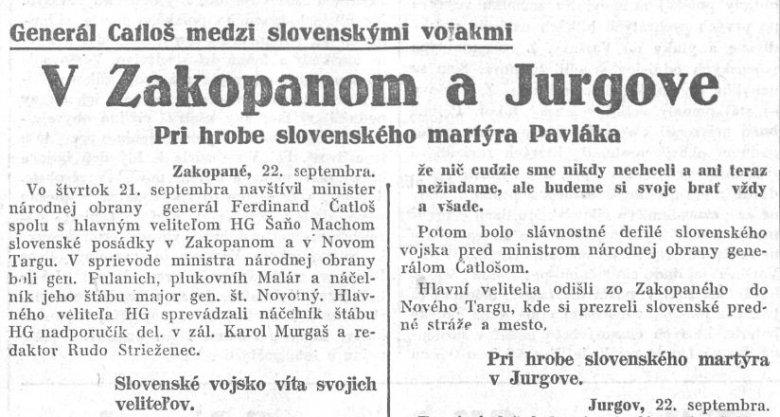 """Fragment gazety """"Slovak"""" z 23 września 1939 r. na temat defilady słowackich wojsk w zdobytym Zakopanem oraz w Jurgowie."""