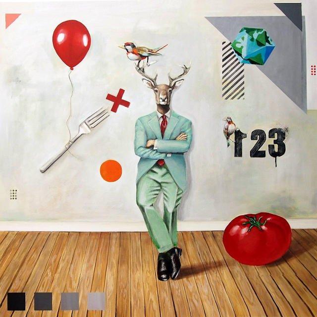 1,2,3...,akryl na płótnie, 110x110 cm, 2014, kolekcja prywatna.