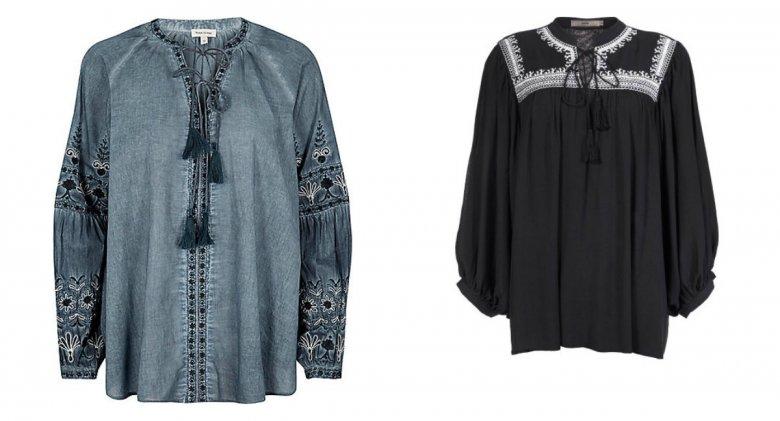 Niebieska bluzka - River Island około 200 zł, czarna bluzka z białym haftem -  Yoshe (showroom.pl) 185 zł