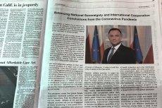 """Andrzej Duda zamieścił płatne ogłoszenie w """"Washington Post"""". Pochwalił się w nim walką Polski z koronawirusem."""