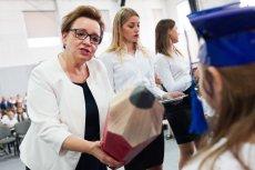 Minister edukacji Anna Zalewska na uroczystości rozpoczęcia roku szkolnego 2018/19 w Lutyni.