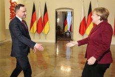 A jednak będą rozmowy o reparacjach wojennych. Podejmie je prezydent Andrzej Duda. Na zdjęciu spotkanie polskiego prezydenta z kanclerz Angelą Merkel.