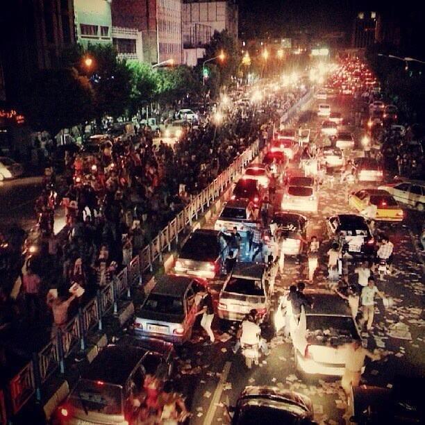 Teherańska ulica podczas ostatniego dnia kampanii wyborczej.