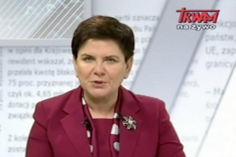 Beata Szydło była gościem Rozmów Niedokończonych w Telewizji Trwam.