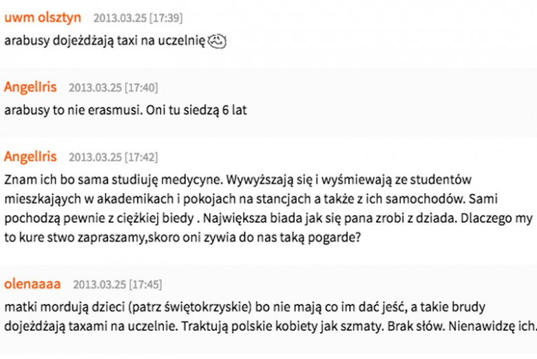 Taki poziom mają często internetowe dyskusje na temat zagranicznych studentów w Polsce