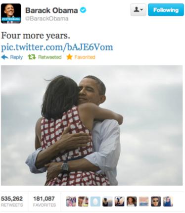 Jedno z najchętniej retweetowanych zdjęć w historii Twittera - zdjęcie przedstawiające radość pary prezydenckiej po wygranej.