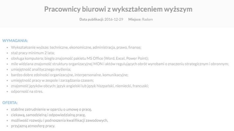 To zeszłoroczne ogłoszenie Polskiej Grupy Zbrojeniowej, wymagania i oczekiwania od pracownika biurowego w Radomiu