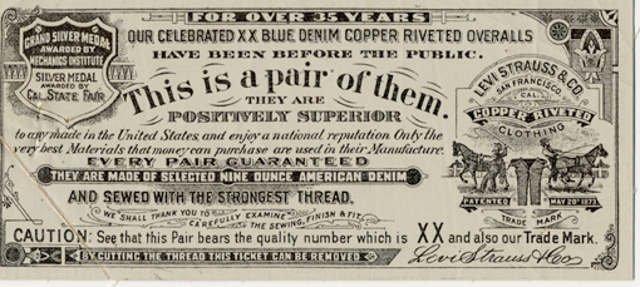 Od 1892 roku taka etykieta ta była umieszczana z tyłu dżinsów i zawierała informacje o jakości jeansów 501®. Używana jest do dziś.