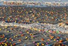 Rajska plaża – tysiące zabawek z jajek z niespodzianką zalegają na piasku.