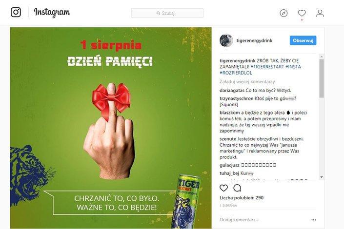 Taki post pojawił się na profilu Tiger Energy Drink na Instagramie 1 sierpnia. Kiedy zrobiło się o nim głośno, został usunięty.