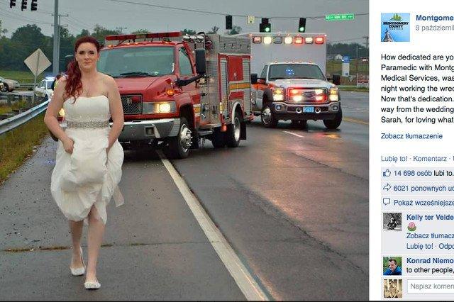 """Panna młoda wybiega z własnego ślubu w sukni by udzielić pomocy ojcu. Internauci są zgodni: """"to bohaterka"""""""