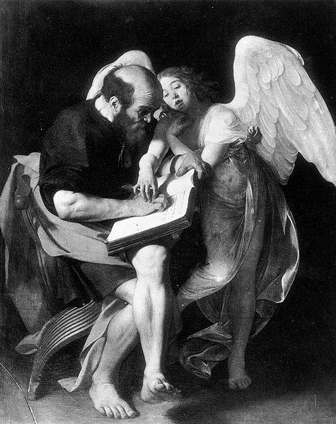 Święty Mateusz i anioł, Caravaggio, 1598-1600, olej na płótnie, dzieło zniszczone