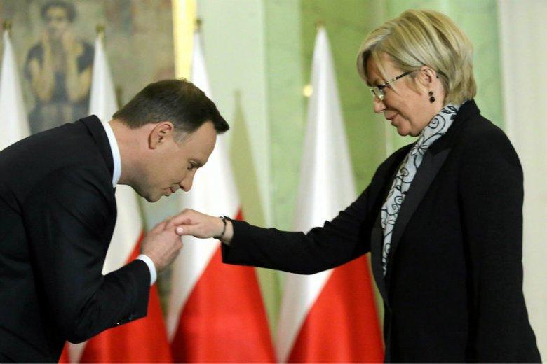 Prezydent Andrzej Duda podczas zaprzysiężenia Julii Przyłębskiej na prezesa Trybunału Konstytucyjnego.