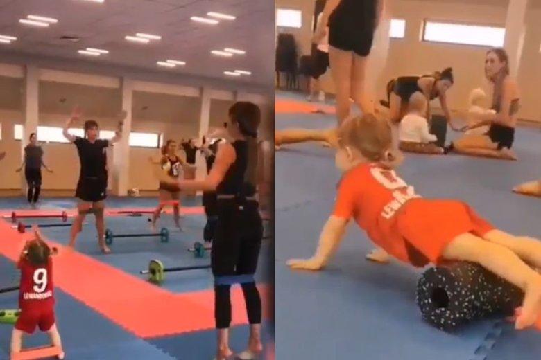 Mała Klara wytrwale ćwiczyła z mamą