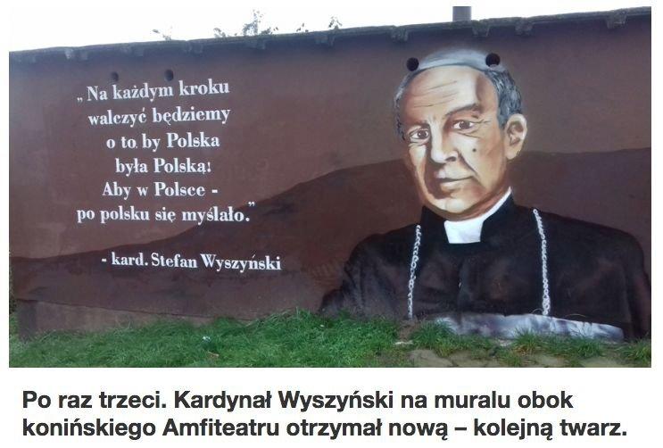 Ostateczna wersja muralu z wizerunkiem kardynała Wyszyńskiego w Koninie.