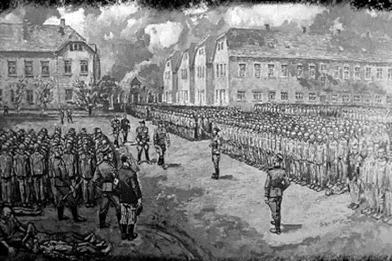 Grafika przedstawiająca obozowy apel.