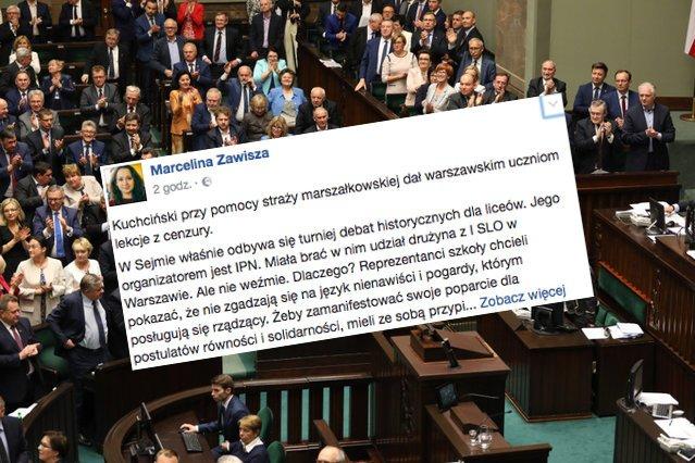 W Sejmie udzielono młodzieży lekcji cenzury.