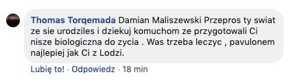 Zrzut ekranu z fan page Zofii Klepackiej z publicznym komentarzem fana olimpijki w którym namawia do zabójstwa.
