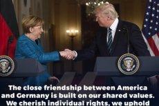 """Trump tłumaczy się z """"niepodania ręki"""", kanclerz Angeli Merkel."""