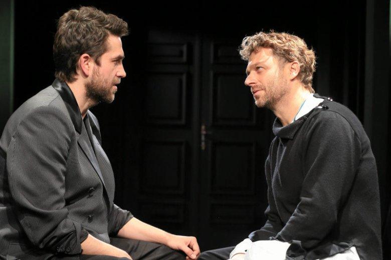 Grzegorz Damięcki i Marcin Dorociński podczas próby do spektaklu w teatrze Ateneum