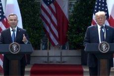 Andrzej Duda i Donald Trump na wspólnej konferencji w Waszyngtonie.